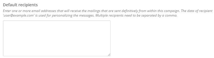 default recipients